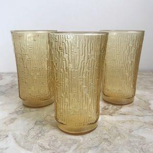 Vintage Amber Glassware Set of 3